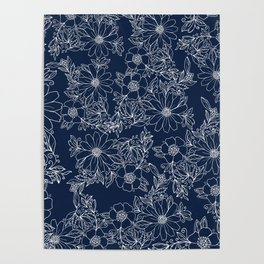 Artistic hand painted navy blue white modern floral Poster