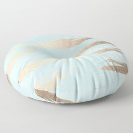 Abstract Paint Stripes Gold Tropical Ocean Sea Turquoise Floor Pillow