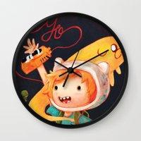 parks and rec Wall Clocks featuring Press Rec by orenji