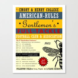 Emory & Henry Football 1913 Poster (Color) Canvas Print