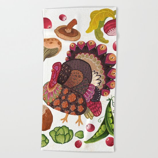 Thanksgiving Dinner Beach Towel