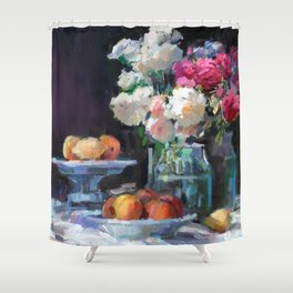 Still Life with White & Pink Roses Shower Curtain
