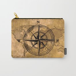 Destinations - Compass Rose and World Map Carry-All Pouch