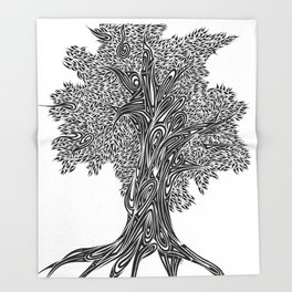 Gnarled Oak Tree Throw Blanket
