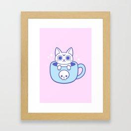 White Magic Tea / Coffee Cat 02 Framed Art Print