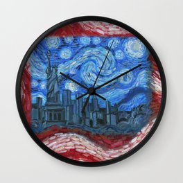 American Flag No. 2 (Starry American Night) Wall Clock