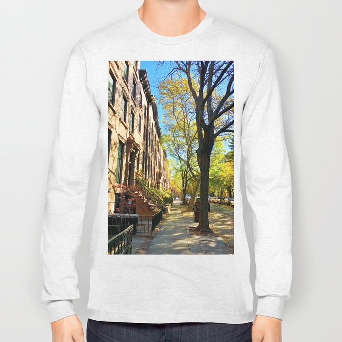 Cobble Hill Brooklyn New York in the Fall, Brownstones Long Sleeve T-shirt