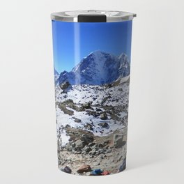 Trekking in Himalaya. Group of hikers  with backpacks   on the trek in Himalayas, trip  to the base  Travel Mug