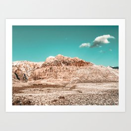 Vintage Red Rock Face // Desert Mountain in Winter Las Vegas Landscape Photograph Teal Sky Art Print