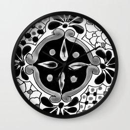 Black and White Talavera Seven Wall Clock