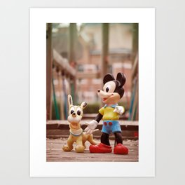 Mickey and Pluto Art Print