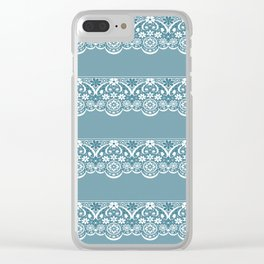 Blue lace fabric. Graphic design. Clear iPhone Case