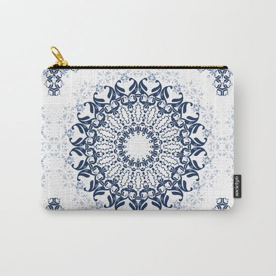 Blue ornament on a white background. Carry-All Pouch