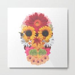 Calavera Floral Metal Print
