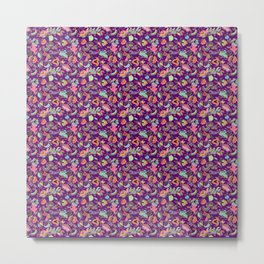 Batik Kebaya Purple SQ Metal Print