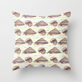 Vintage Seashells Pattern Throw Pillow