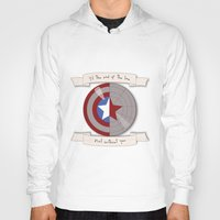 bucky barnes Hoodies featuring Steve Rogers and Bucky Barnes Shield by Mallory Anne