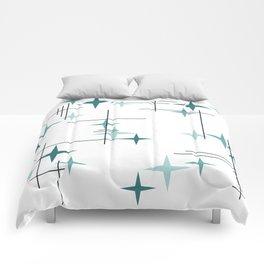 Mid Century Modern Stars (Teal) Comforters