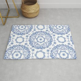 Blue Rhapsody on white Rug