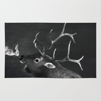 elk Area & Throw Rugs featuring Elk and Rabbit by Laura Graves