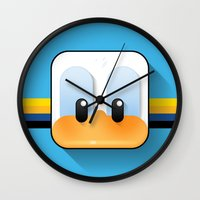 donald duck Wall Clocks featuring donald duck by designoMatt