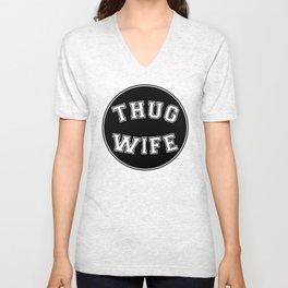 THUG WIFE, circle, black Unisex V-Neck