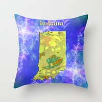 indiana Throw Pillows featuring Indiana Map by Roger Wedegis