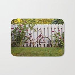 Bike with Fence & Flowers Bath Mat