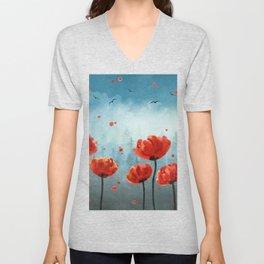 Poppy flowers - Misty Forest Unisex V-Neck