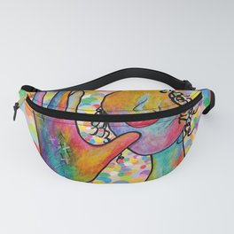 ASL for MOTHER on a Bright Bubble Background Fanny Pack