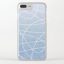 Scribble Linen - Denim Clear iPhone Case