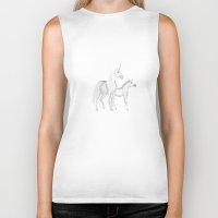 unicorns Biker Tanks featuring FANTASY - Unicorns by valzart