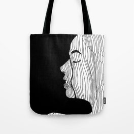 Woman drawing with lines Tote Bag