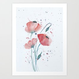 Red poppies in the sun floral watercolor painting Art Print