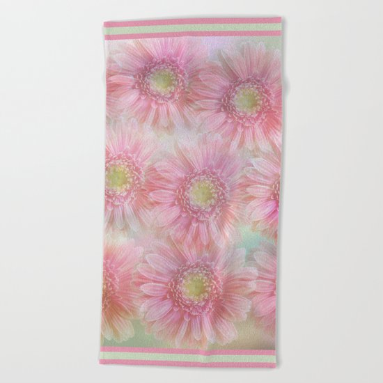 Pink daisies on a pastel background. Beach Towel