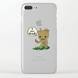 i am groott with butterfly Clear iPhone Case