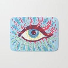 Weird Blue Psychedelic Eye Bath Mat