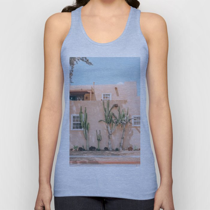 Pink House With Cactus Unisex Tank Top