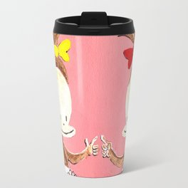 Two Baby Ape Girls on Pink Travel Mug