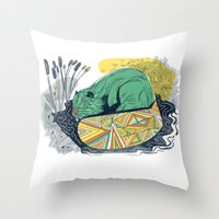 beaver Throw Pillows featuring The Beaver by Dushan Milic