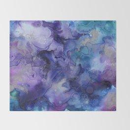 Abstract Watercolor Coastal, Indigo, Blue, Purple Throw Blanket