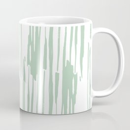 Bamboo Stripe Pastel Cactus Green White Coffee Mug