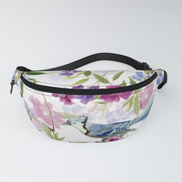 Vintage & Shabby Chic - Blue Jay and Flowers Garden Fanny Pack