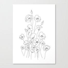 Poppy Flowers Line Art Canvas Print