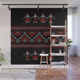 Traditional Romanian white & red cross-stitch people on black Wall Mural