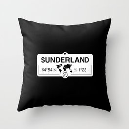 Sunderland England GPS Coordinates Map Artwork with Compass Throw Pillow