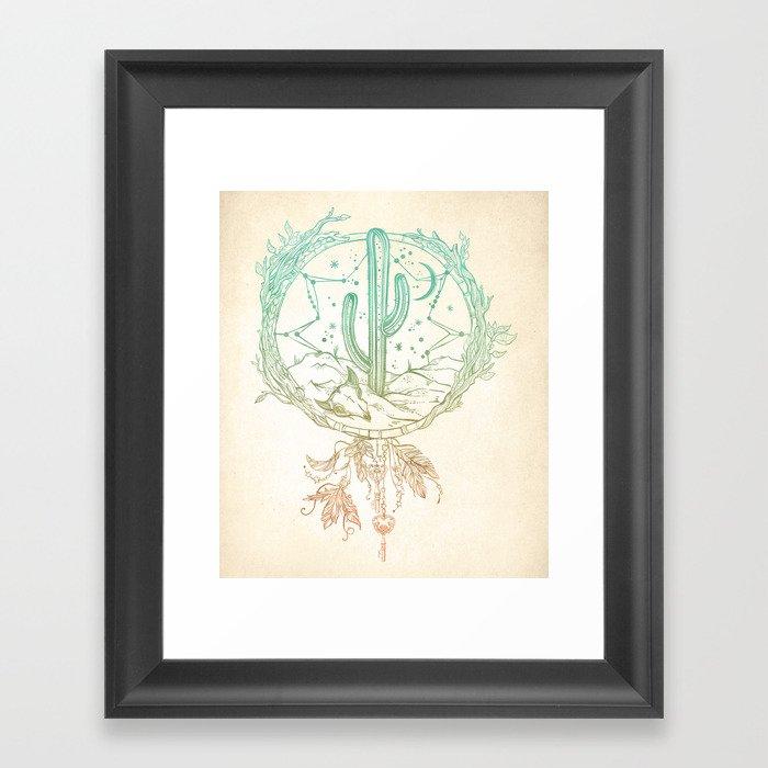 Desert Cactus Dreamcatcher Turquoise Coral Gradient Gerahmter Kunstdruck