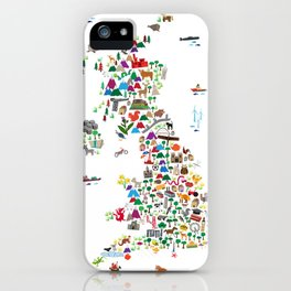 Animal Map of Great Britain & NI for children and kids iPhone Case