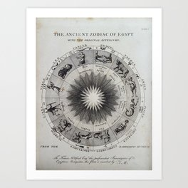 The Ancient Zodiac of Egypt with the original Asterisms Art Print