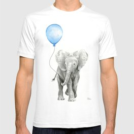 Baby Animal Elephant Watercolor Blue Balloon Baby Boy Nursery Room Decor T-shirt